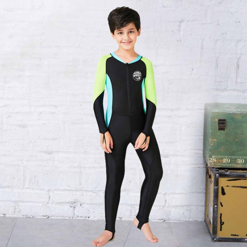 Новинка; Детский костюм для дайвинга с длинными рукавами; Быстросохнущий купальный костюм для мальчиков и девочек с защитой от ультрафиолета; летний костюм для серфинга; цельный гидрокостюм