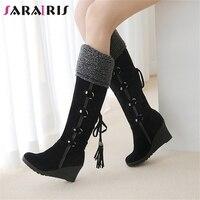 SARAIRIS New Women Knee Boots Ladies Winter Fur Shoes Fringe Wedges High Heels Shoes Platform Warm Snow Boots Black Size 34 43