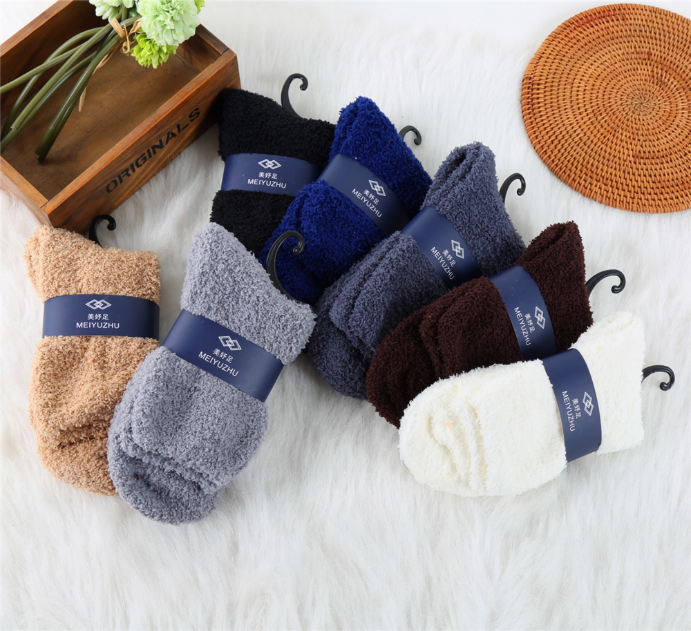 1 Pair Cozy Cashmere Socks For Men Winter Warm Sleep Bed Floor Sock Home Fluffy Thick Crew Socks Dropship Hot Sale New Arrival