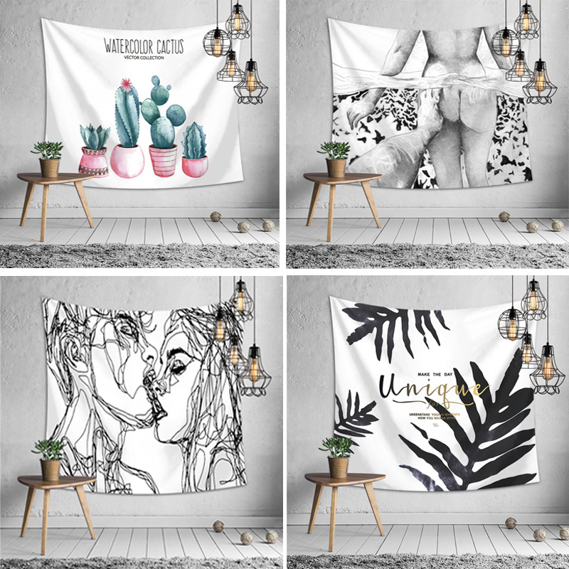 Multi clock type art wall hanging sexy tapestry couple cartoon lion head printing woven lace bed linen wall hanging wall cover in Tapestry from Home Garden
