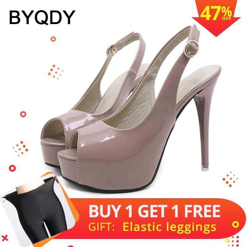 c3872f737d43 BYQDY 2019 Spring Fashion Women Pumps Summer Slingback Shoes Peep Toe Black  Beige Buckle Ladies Dress