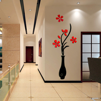 Large Size Colorful Flower Vase 3D Acrylic Decoration Wall Sticker DIY Art Wall Poster Home Decor
