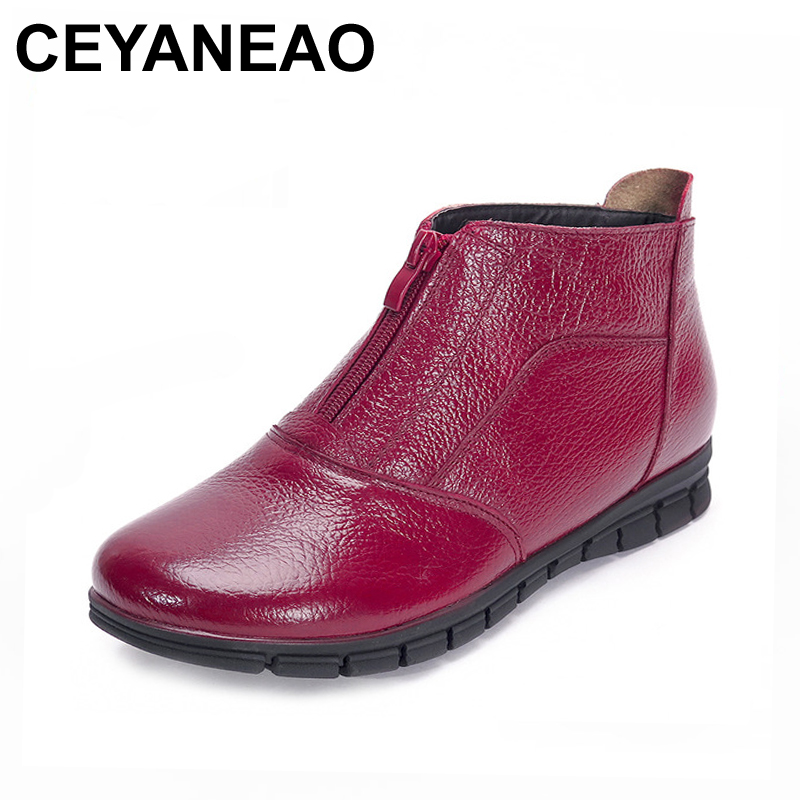 CEYANEAOWomen Winter Boots Fashion Genuine Leather Ankle Boots Women Round toe Flat Shoes Soft-soled Woman Snow Boots Plus Size women ankle boots handmade genuine leather woman boots autumn winter round toe soft comfotable retro boot shoes female footwear