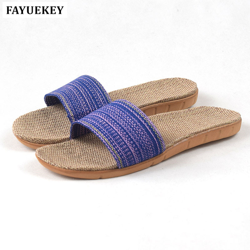 FAYUEKEY 18 New Fashion Summer Home Linen Breathable Slippers Women Indoor\Floor Beach Girls Open-toed Slippers Slides Shoes free shipping candy color women garden shoes breathable women beach shoes hsa21