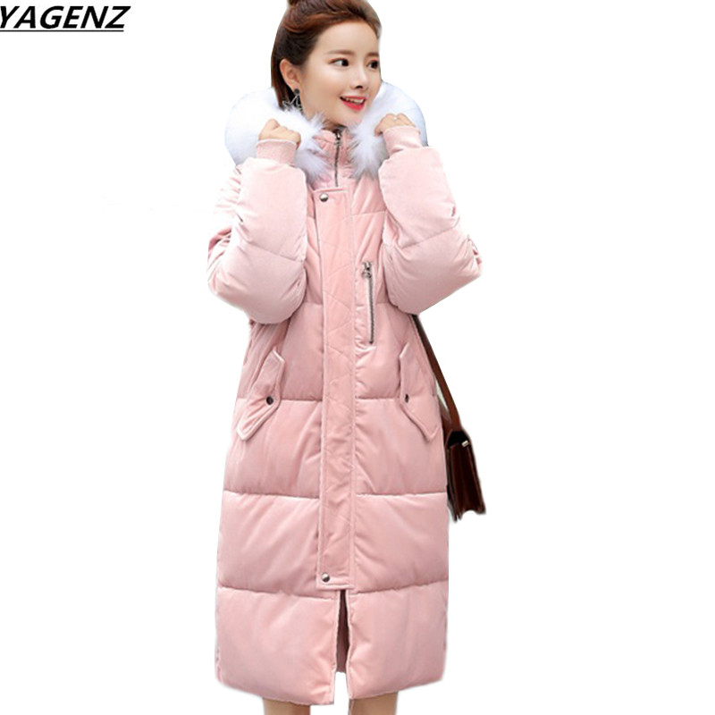 цены New Winter Jacket Female Parkas Fashion Gold Velvet Cotton Coat Hooded Fur Collar Long Outerwear Warm Large Size Women Coats 740
