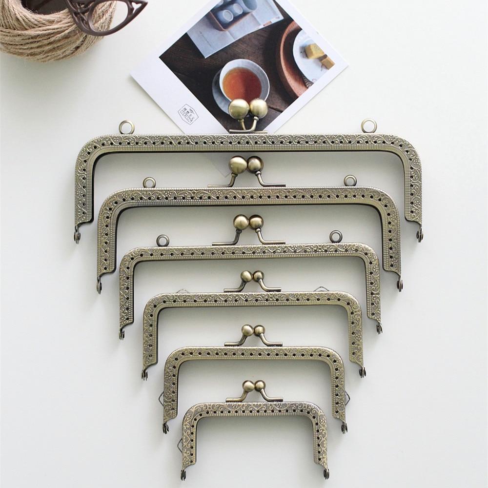 Bronze Square Coins Purse Frames Metal Kiss Clasp Bags Making Supplies DIY 10.5/12.5/15.5/18/20 CM Complete Specifications 5pcs