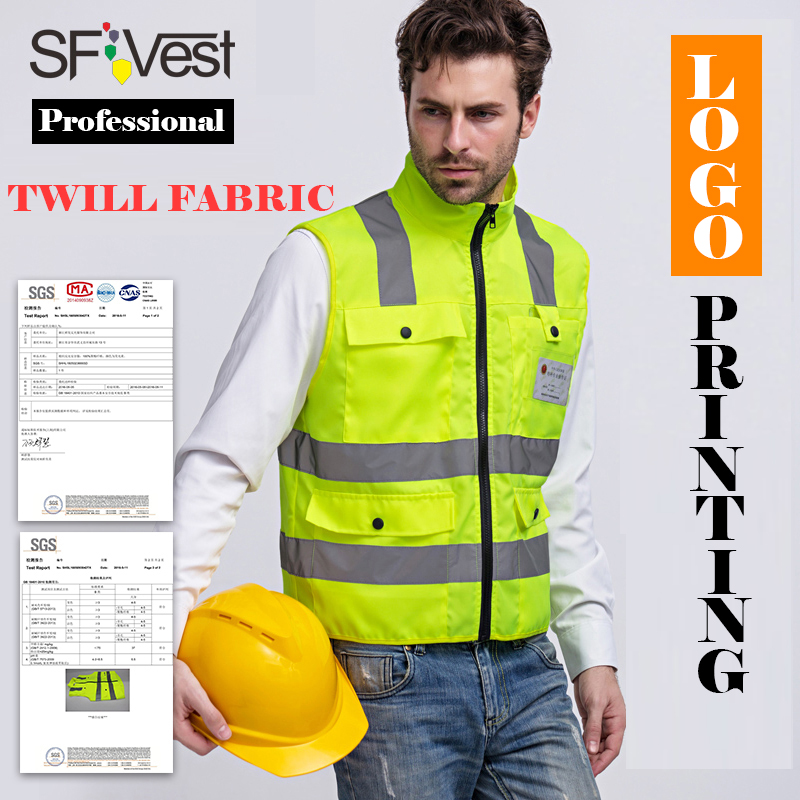 SFVEST MENS HI VIS VIZ TWILL SECURITY VEST HIGH VISIBILITY WORK WAISTCOAT REFLECTIVE SAFETY TOP VEST YELLOW FREE POST