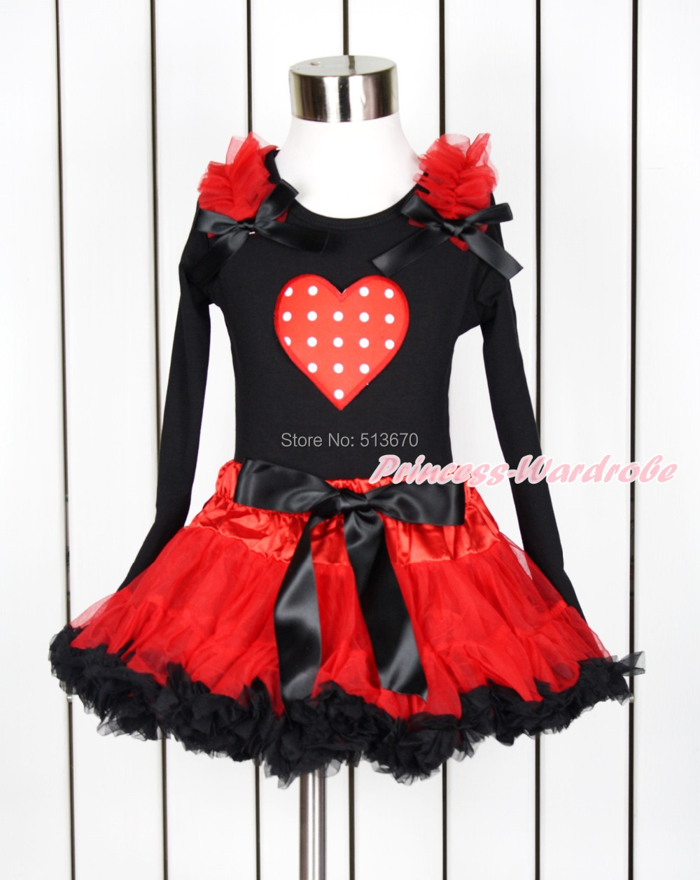 Valentine Red White Polka Dot Heart Black Pettitop Hot Red Black Pettiskirt 1-8Y MAPSA0107 xmas red orange yellow black roses brown top baby girl pettiskirt outfit 1 8y mapsa0038