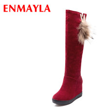 Airfour New Women Winter Boots Wegdes High Heels the Knee With Fur Fashion Slip On Height Increasing Platform