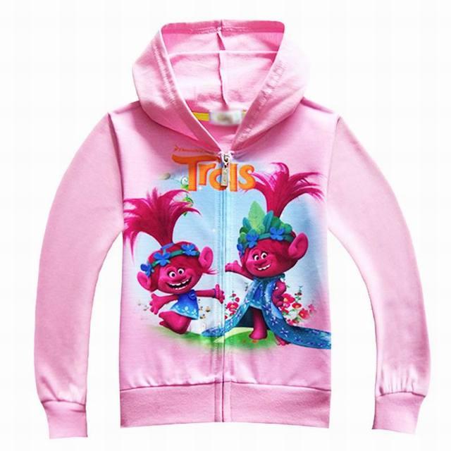 a75af55b6be Trolls Poppy Niñas Sudaderas Rosa rojo sportwear cremallera chaqueta y capa  Sudadera con capucha otoño Niñas