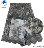 BEAUTIFICAL beaded bridal fabric latest african laces 2018 grey lace embroidered fabric 5yards with rhinestone and beads MLN02