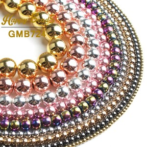 """Natural Hematite Rose Gold Silver Black Plated Beads Top Quality Round Loose beads For Jewelry Making DIY Bracelets 2-12mm 15""""(China)"""