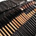 Venta caliente maleta de maquiagem profissional de color madera y negro maquillaje pinceles de maquillaje kit de cepillo de base + PU Baf