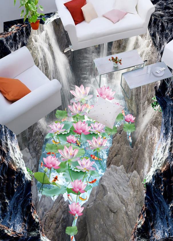 3D Flooring Modern Wall Murals Waterfall Lotus 3D Room Wallpaper Landscape 3D Floor Tiles Wallpaper For Walls 3 d shinehome european roman pillar angel soft roll wallpaper for 3d rooms walls wallpapers for 3 d living room wall paper murals