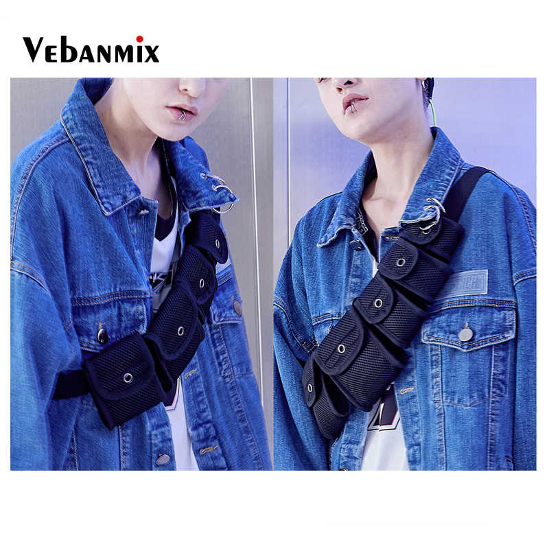 b08f8290d ... Fashion Streetwear Hip Hop Chest Bag for Women Men Crossbody Bags Cool  Multi Packs Men Fanny ...