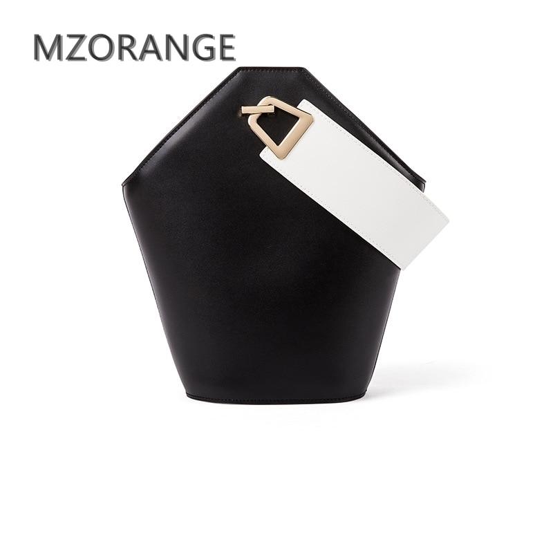 MZORANGE 2018 New unique design Women Bucket Bag 100% Genuine Leather Handbag Simple Fashion Lady Tote shoulder crossbody bag mzorange 2018 new unique design women bucket bag 100