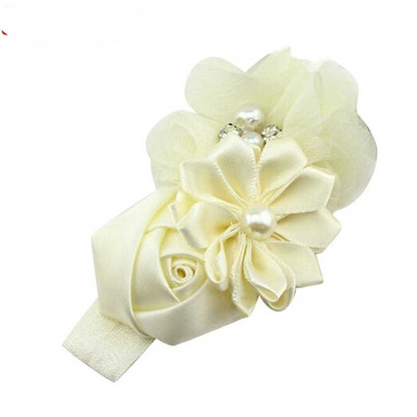 Newly Design Little Girls Pearl Flower Rhinestone Elastic Headbands Hair Accessories 160613 Drop Shipping Sunward