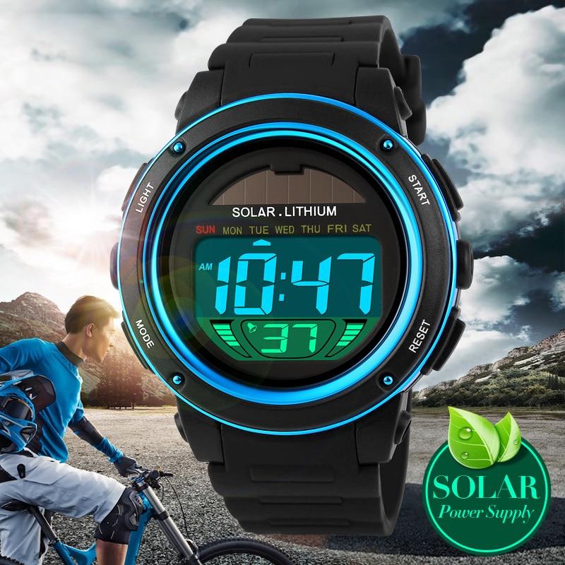 Hot Famous Brand Men Boys Solar Alarm Digital LED 50M Waterproof Wristwatch Military Dive Analog Smart Relogio Masculino Watches