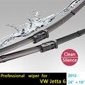 """Freeshipingcar pára wiper blades para volkswagen jetta 6 (a partir de 2012) 24 """"+ 19"""", fit empurrar o botão de braços do limpador apenas hy-075"""