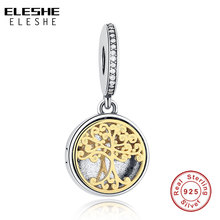 ELESHE 925 Sterling Silver Family Tree Crystal Charms Beads Fit Original Pandora Bracelet Pendant DIY Authentic Jewelry Making