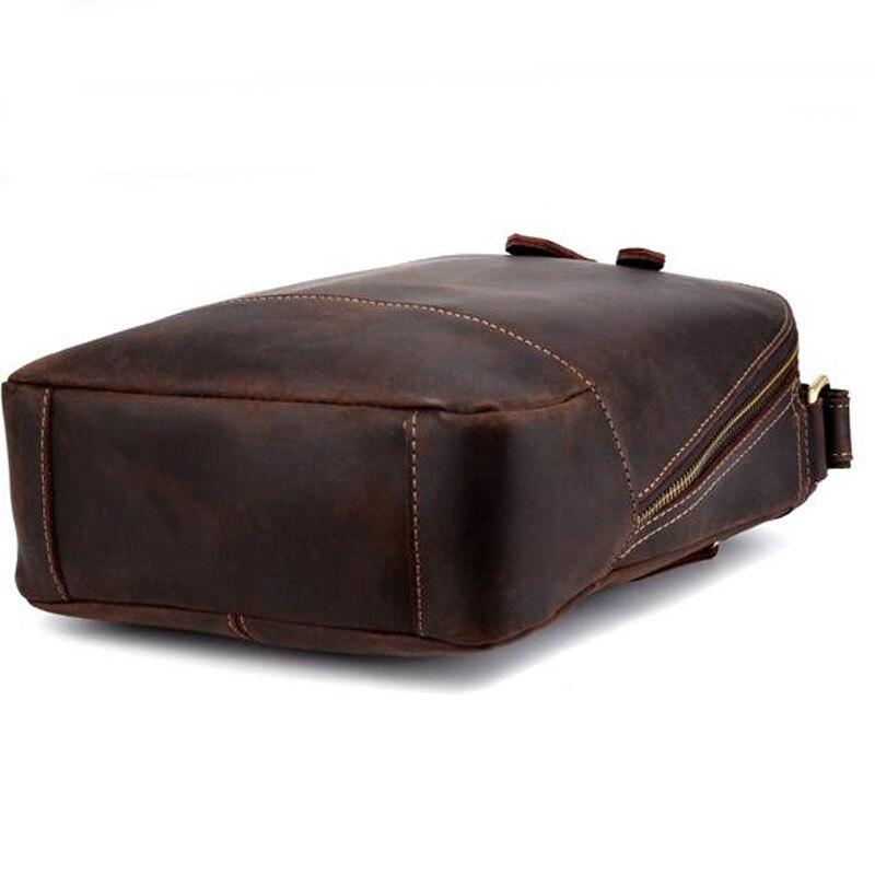 Men Vintage Crazy Horse Cowhide Cross Body Bags Men Messenger Briefcase Brand Trend Vertical High Quality Sling Shoulder Bag - 3