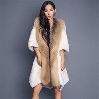 Lovingbeauty 90cm High Quality Red Fox Fur Coats For Women White Rex Rabbit Fur Coat Outwear