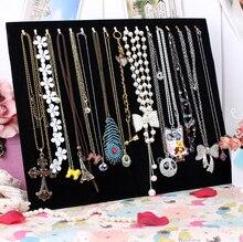 17 collar gancho titular de la joyería de terciopelo negro de almacenamiento de la joyería brazalete placa accesorios pavanas a cuadros muestran estante