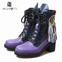 Prova Perfetto genuine leather patchwork short boots women winter new rivet fringe decor lace up chunky heel martin boots women