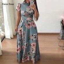 Spring Summer Long Maxi Dress Women Evening Party Dresses Floral Print Boho Beach Sundress O Neck Elegant Vintage Bandage