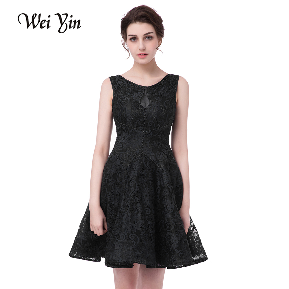 WeiYin A-Line Lace   Cocktail     Dress   Black Sleeveless Burgundy Short Evening Party   Dress   Cheap Knee-Length Date   Dress   Vestido de no