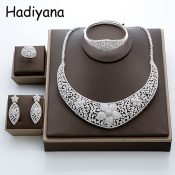 Jewelry Sets HADIYANA Newest Luxury Sparking Brilliant Cubic Zircon Costume Flower Temperatment TZ8024 Conjunto de joyas