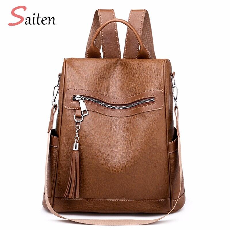 Backpack For Women Fashion Ladies Backpack Female Leather Tassel Multi function University Bags Chain Shoulder Bag