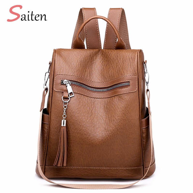 d58902ff52403 Backpack For Women Fashion Ladies Backpack Female Leather Tassel  Multi-function University Bags Chain Shoulder