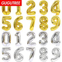 Decorate 40inch gold silver number foil balloons wedding event christmas halloween festival birthday party HY-54