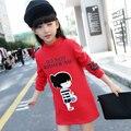 2016 bebé ropa de invierno niñas añadir lana superior ocio edición de han de muchachas de la historieta de los niños T-shirt