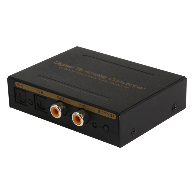 New SPDIF Decoder 4 to 1 Switch HD Digital Audio 4x1 Switch | (TOSLINK x2 & Coaxial x2) to TOSLINK + Analog L/R + Stereo