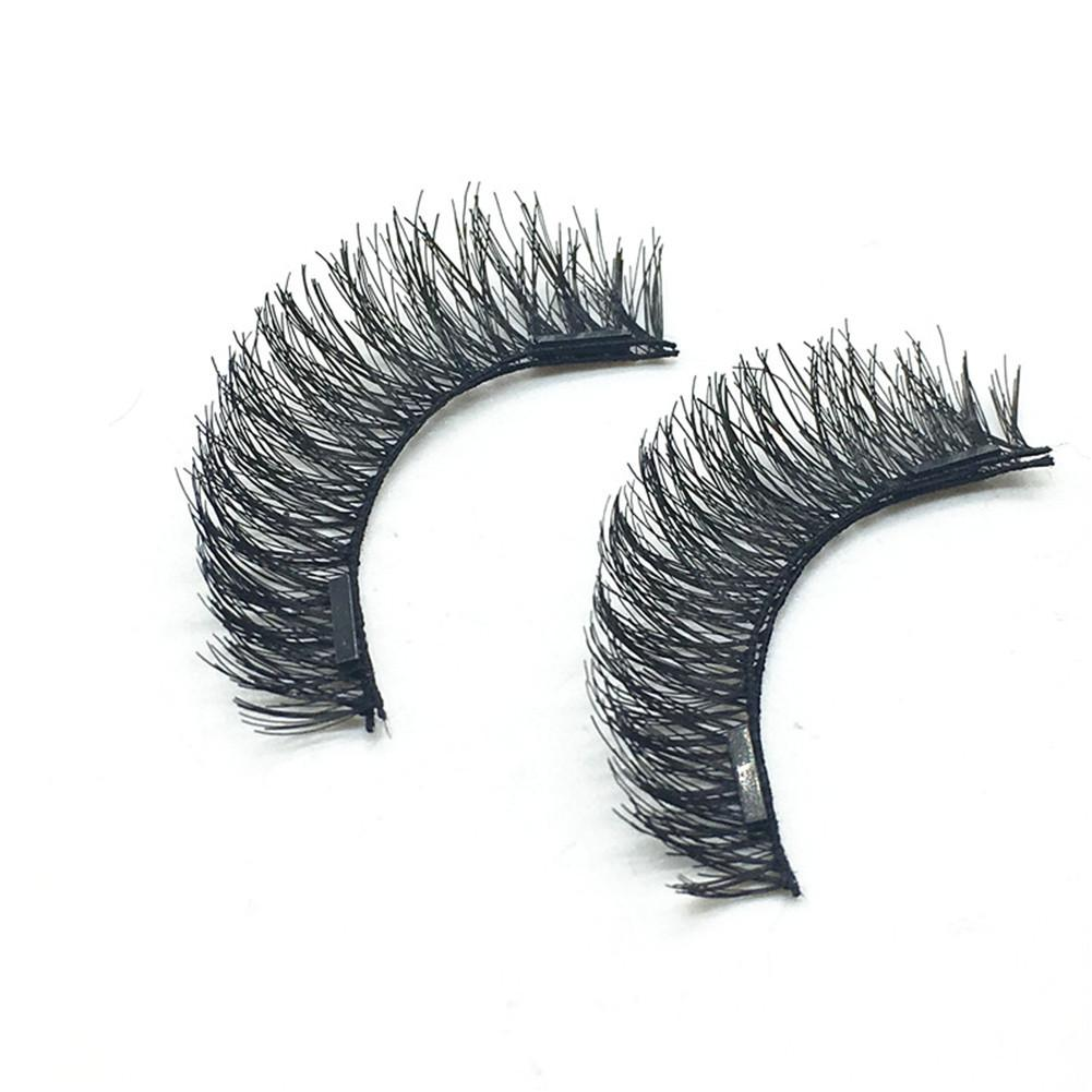 Handmade 2 Pair 3D Double <font><b>Magnetic</b></font> False <font><b>Eyelashes</b></font> Lashes Reusable False <font><b>Magnet</b></font> Eye Lashes Natural <font><b>Magnetic</b></font> Lashes image