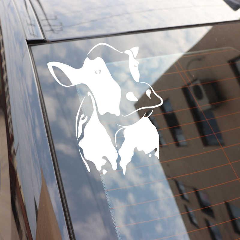 YJZT 13.4 センチメートル * 16.4 センチメートル牛装飾車のステッカービニールデカール車のボディアクセサリー黒/シルバー C4-1274
