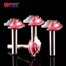 Weitol 3 adet 6mm shank kırmızı kaplama ağaç İşleme freze uçları parmak freze çakısı ahşap oyma bit CNC araçları