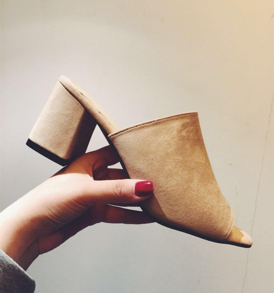 Simple Sandalias Mujer Slim Revista Punta Zapatos Temperamento Tacón Zapatillas gris Abierta Grueso Beige 2017 Alto Modelos Elegante Nueva Con negro De q4ItO