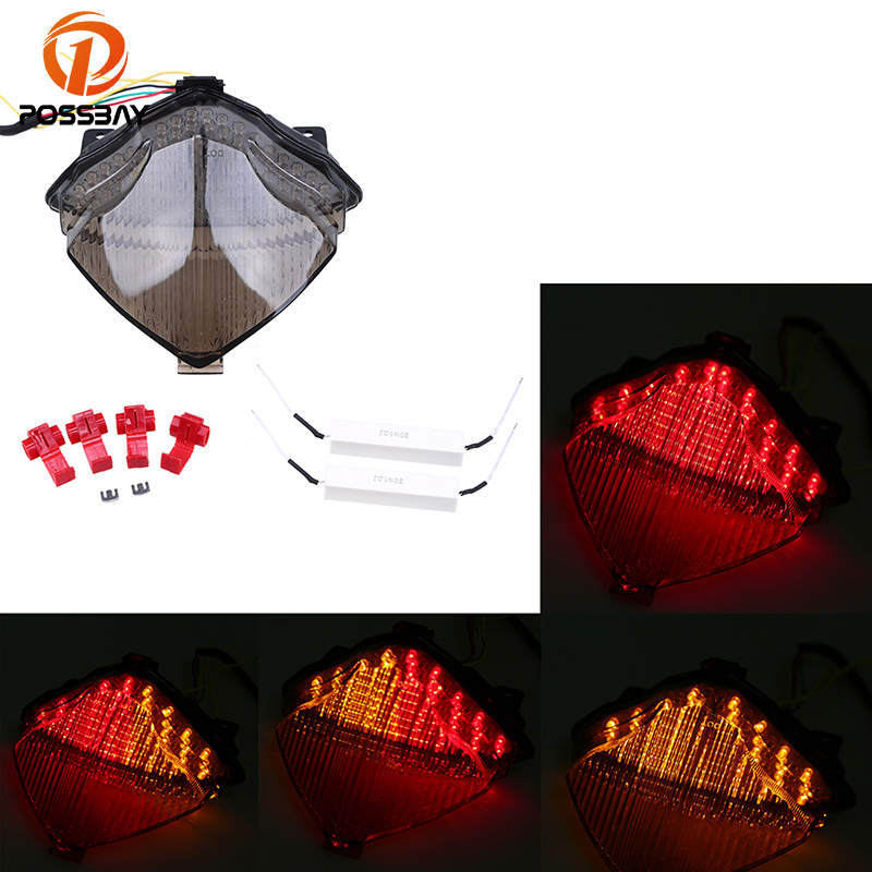 цена на POSSBAY Motorcycle Taillight Retro Rear Brake Stop Light Turn Signal Indicator Lamp Flasher for Yamaha YZF R1 2004 2005 2006