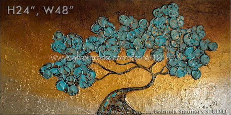 Asian Zen Tree Painting Large Modern Texture Decoration