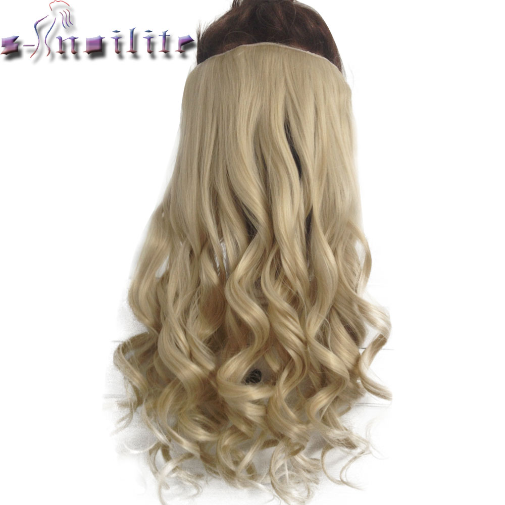 S-noilite 24 inches Long 100% Thick Clip in One Piece Hair Extension Frosted Hairpiece Mix Brown Synthetic Hair