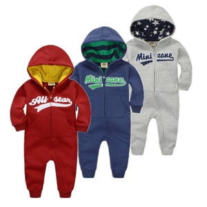 Image 1 - spring Autumn Baby rompers Hooded baby boys clothes Newborn Cotton Clothes streetwear Long Sleeve Infant Boys Girls jumpsuit