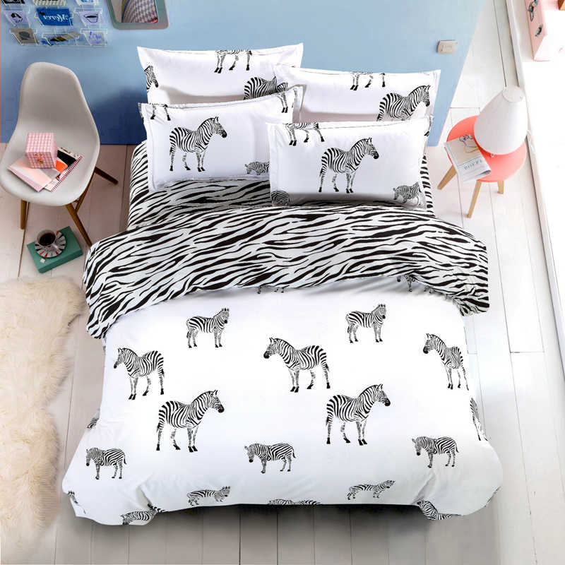 Black and White 4pcs Bedding Set Fashion Bed Sheet / Duvet Cover/Pillowcase Super King/ King/Queen/Full/Twin 5 Size