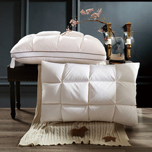 Хлебная клетчатая хлопковая подушка с наполнителем 100% белый гусиный пух на шею высокого качества подушка памяти здоровья Вертикальная подкладка мягкие подушки