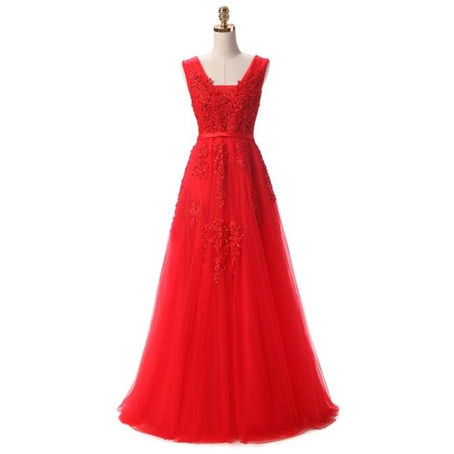 Robe De Soiree SSYFashion, кружевное, с бисером, сексуальное, с открытой спиной, длинное вечернее платье, для невесты, банкета, элегантное, длина до пола, для вечеринки, выпускного вечера - Цвет: Red