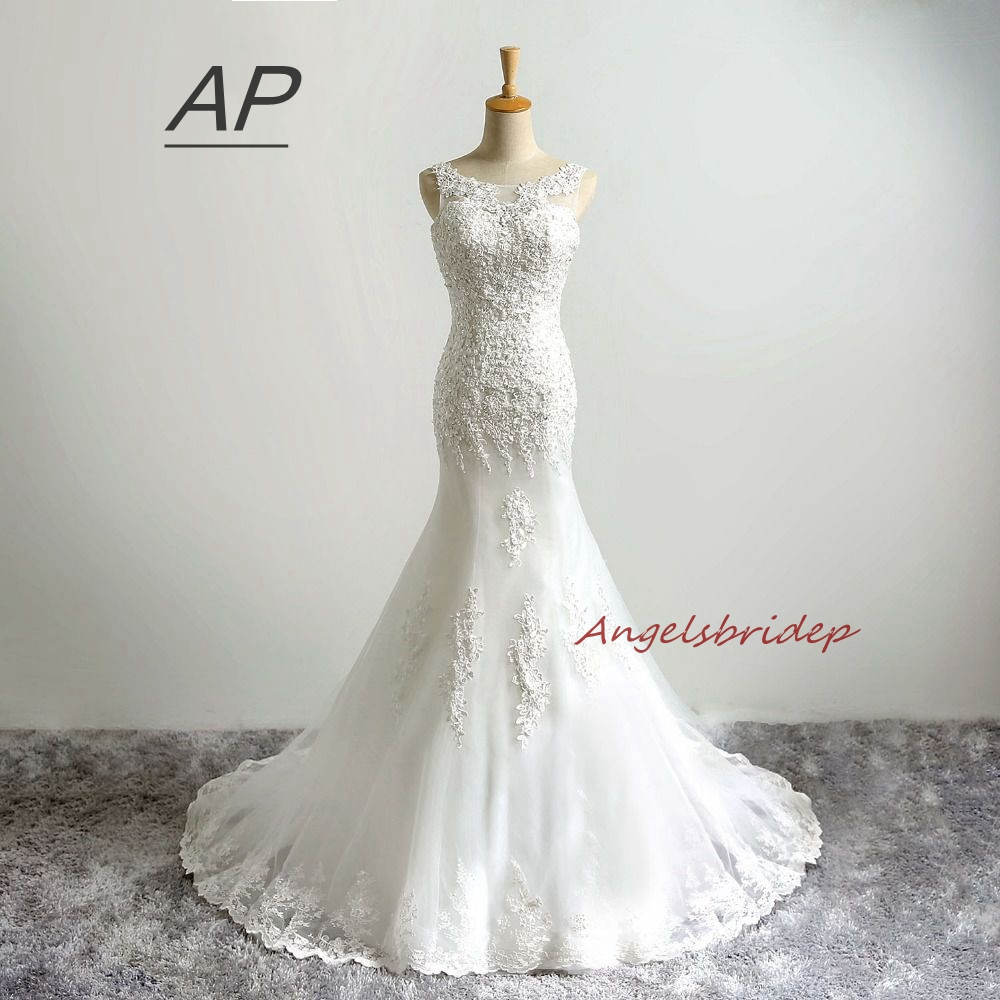 ANGELSBRIDEP Vestido De Noiva 2019 Mermaid Wedding Dress Real Image Sexy Sheer Neck Applique Floor Length