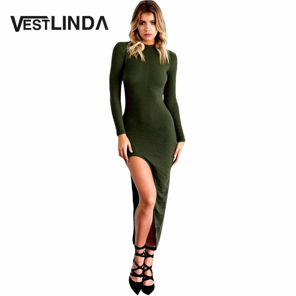 VESTLINDA Sexy Women Sheath Bodycon Dress High Neck Long Sleeve Knitted Sweater Vestidos Ladies Autumn Robe Slit Maxi Dress black cowl neck high slit sheath dress