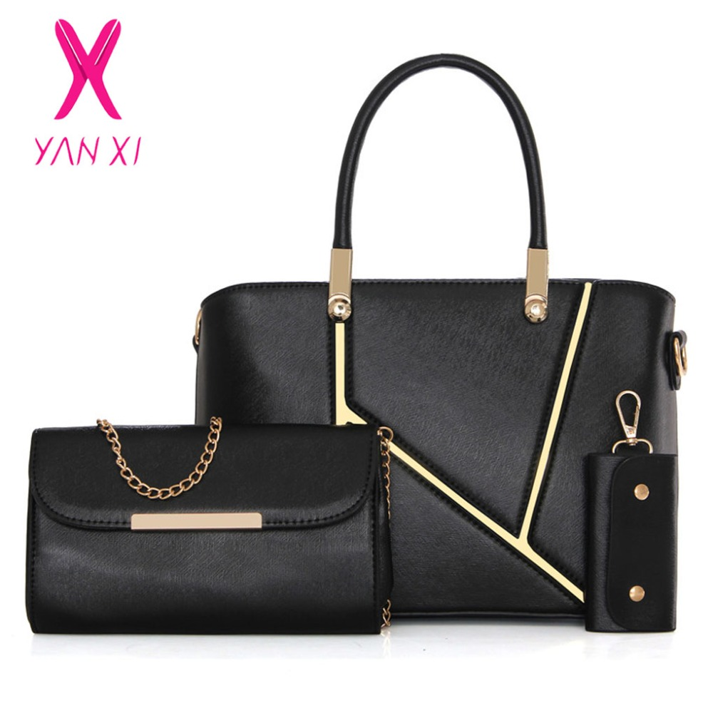 YANXI New Luxury Brand Fashion Lady Tote Shoulder Messenger Bag Black Women Quality Composite Bag Designer Purse And Handbags недорого